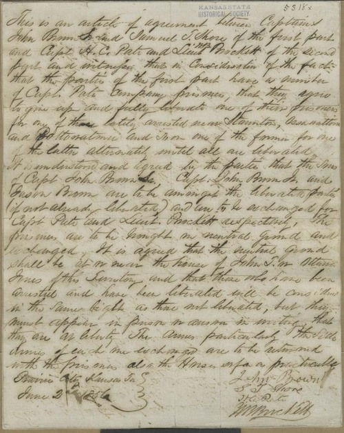 Articles of agreement for the exchange of prisoners following battle of Black Jack - Page
