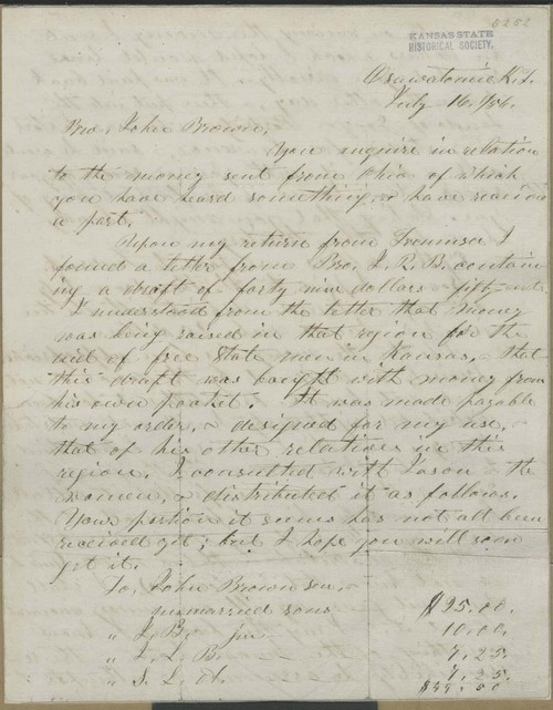 Samuel Lyle Adair to John Brown