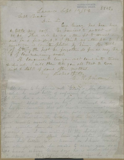 Charles Robinson  to John Brown - Page
