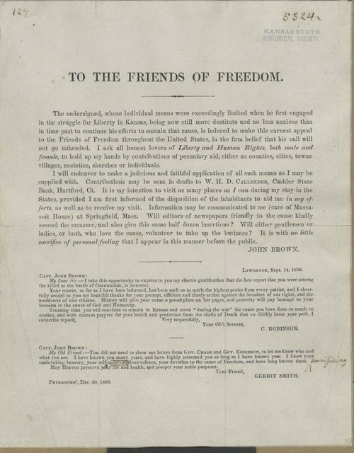 John Brown circular to the Friends of Freedom - Page