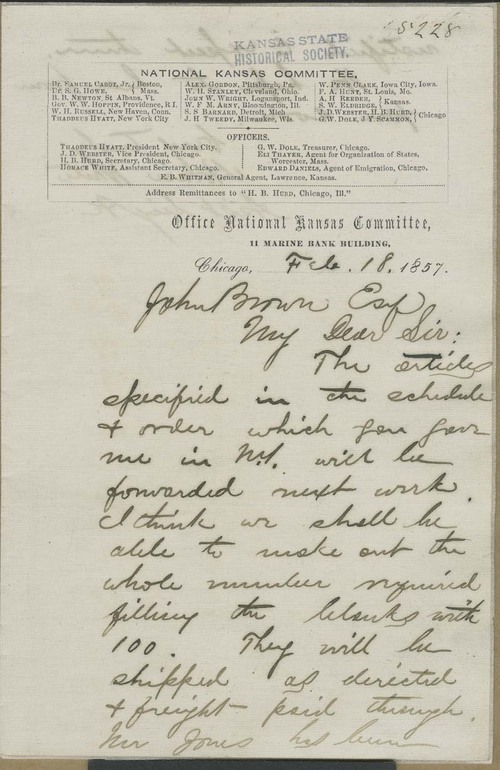 Horace White to John Brown - Page