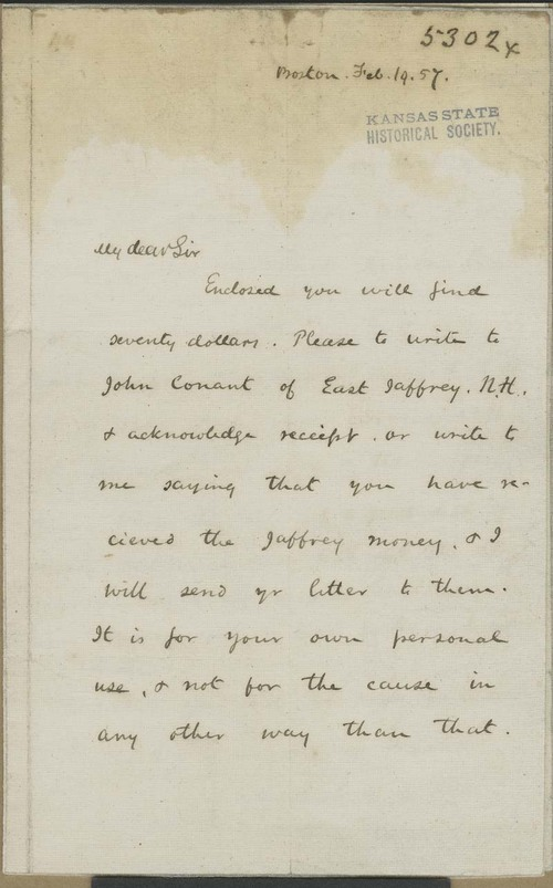 Amos Adams Lawrence to John Brown - Page