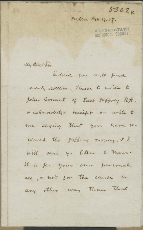 Amos Adams Lawrence to John Brown - Page