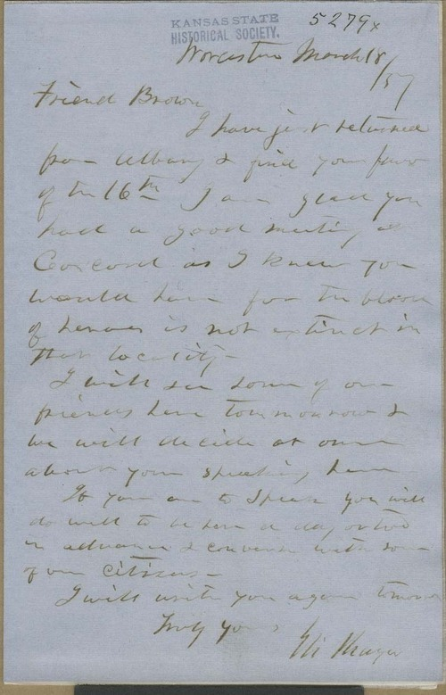 Eli Thayer to John Brown - Page