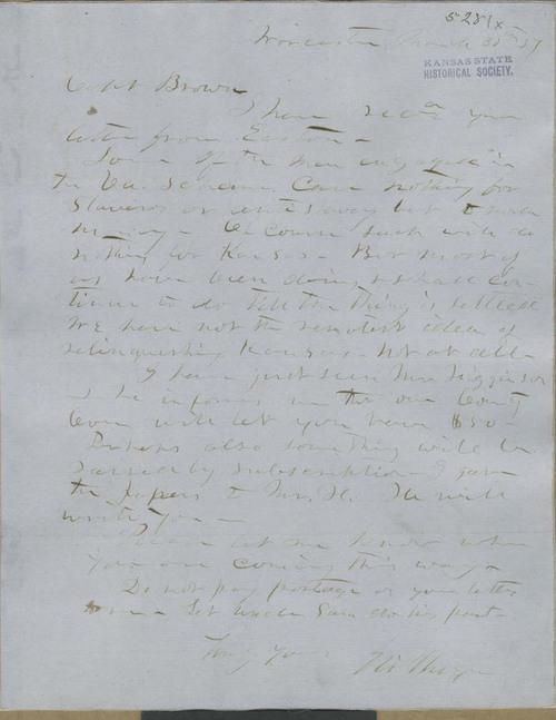 Eli Thayer to John Brown - Page