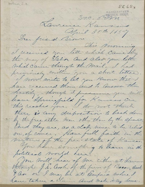 James H. Holmes to John Brown - Page