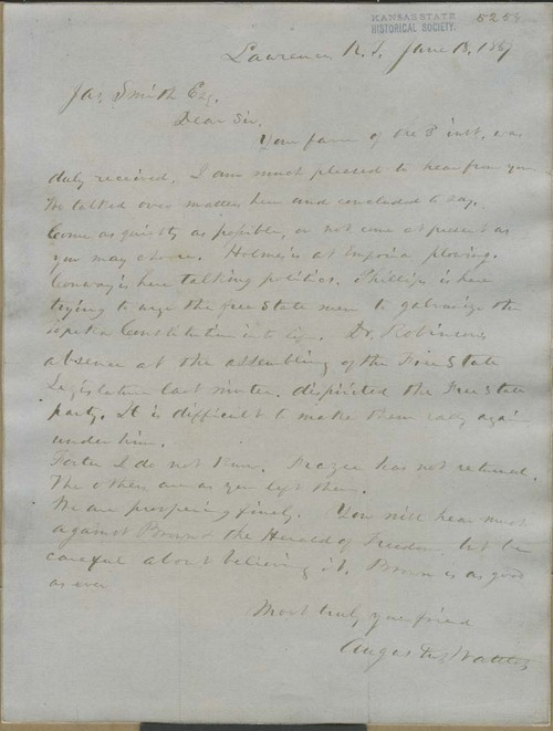 Augustus Wattles to James Smith - Page
