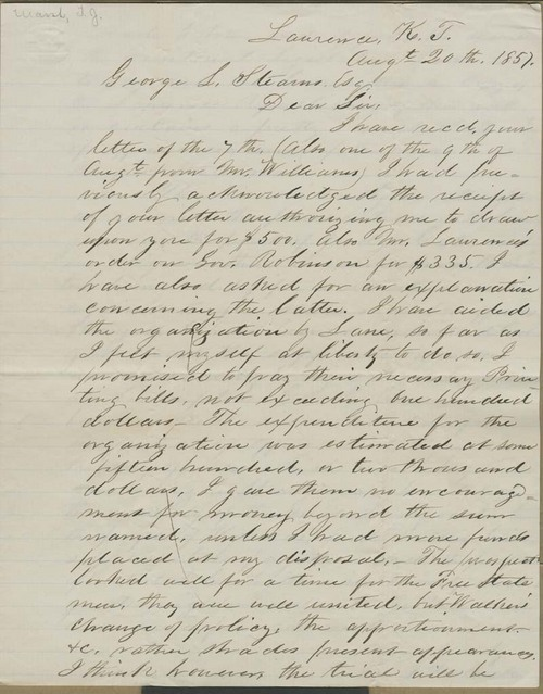 Thomas J. Marsh to George Luther Stearns - Page