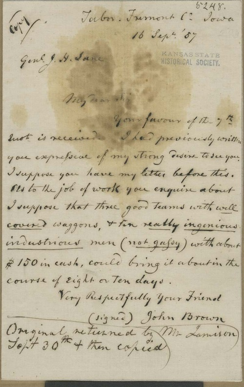 John Brown to James Henry Lane - Page