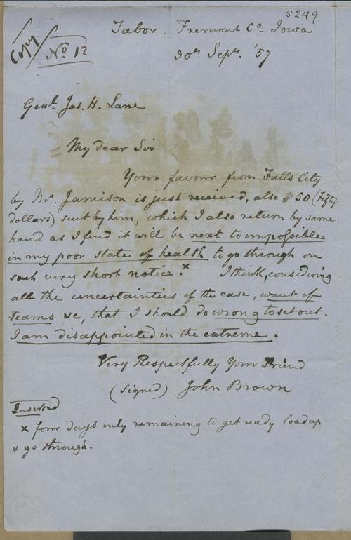 John Brown to James Henry Lane - Page
