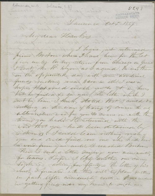 W. B. Edmonds [E. B. Whitman?] to Hawkins [John Brown] - Page