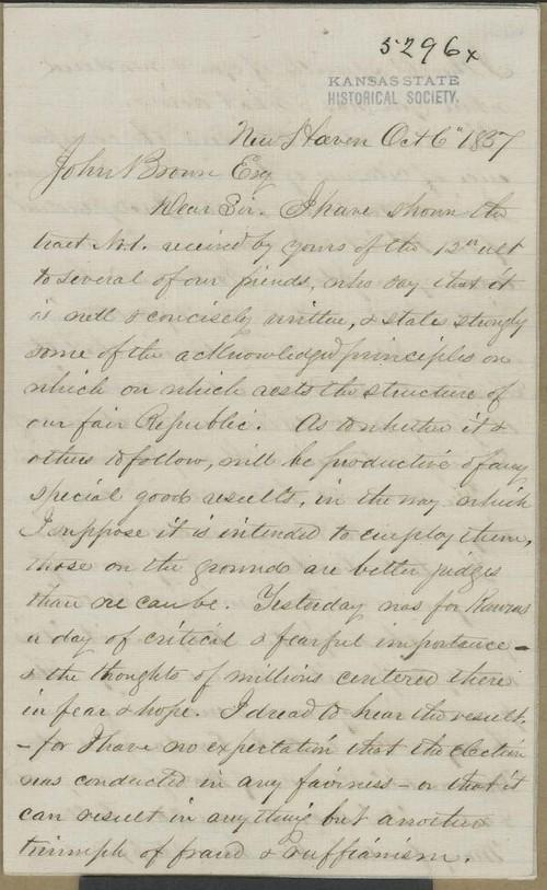 S.G. Hubbard to John Brown - Page