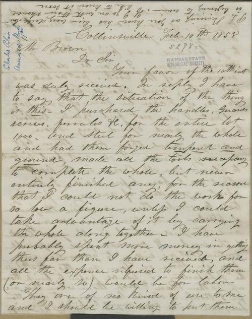 Charles Blair to John Brown - Page