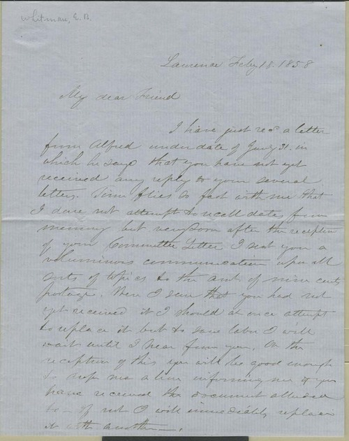 Edmund Burke Whitman to Franklin B. Sanborn ? - Page