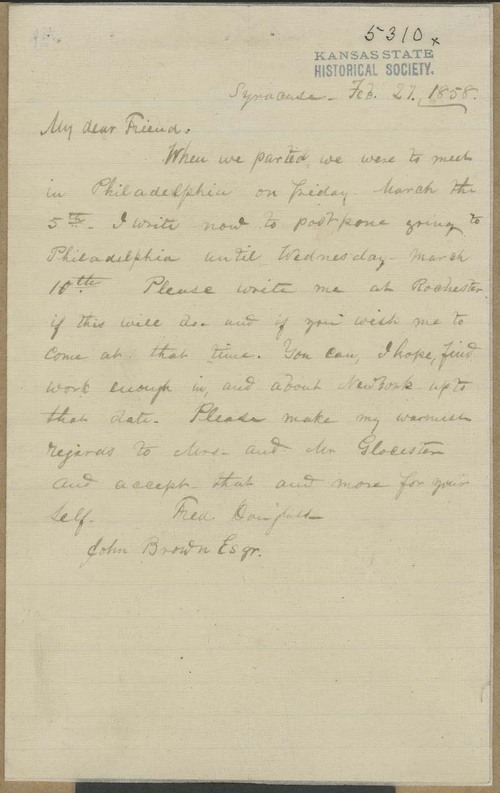 Frederick Douglass to John Brown - Page