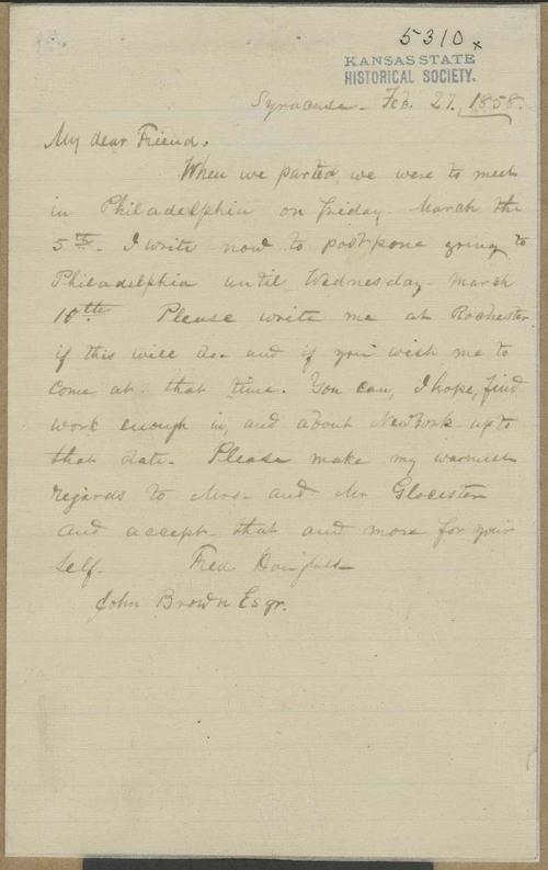 Frederick Douglass to John Brown - Page