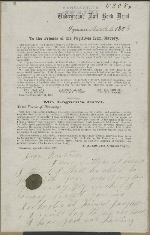 Circular Letter, Underground Rail Road Depot, To the Friends of the Fugitives from Slavery - Page