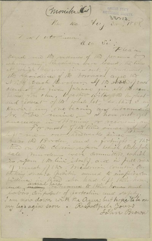 John Brown to William Hutchinson - Page
