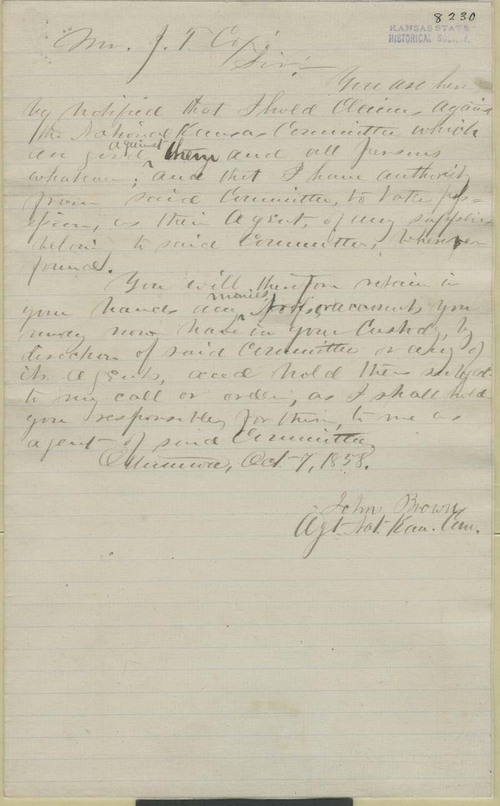 John Brown to J. T. Cox - Page