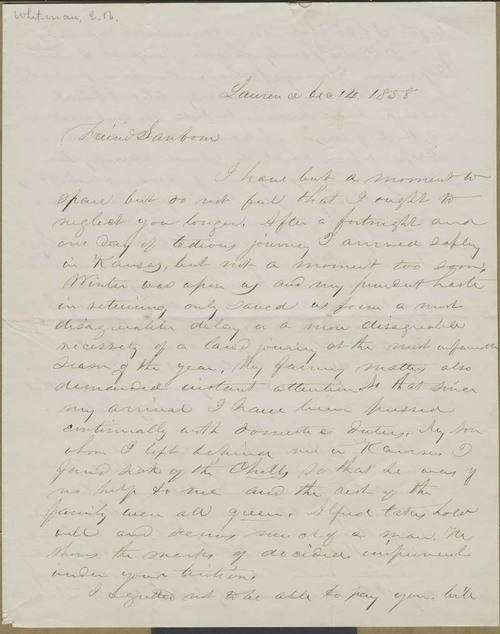 Edmund Burke Whitman to Franklin B. Sanborn - Page
