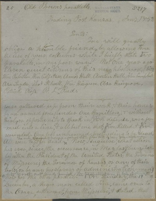John Brown, letter known as Old Brown's Parallels - Page