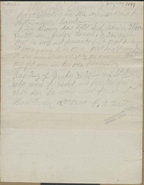 Charles A. Foster, statement about John Brown - Page