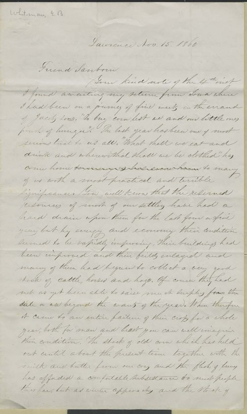 Edmund Burke Whitman to Franklin B. Sanborn - Page