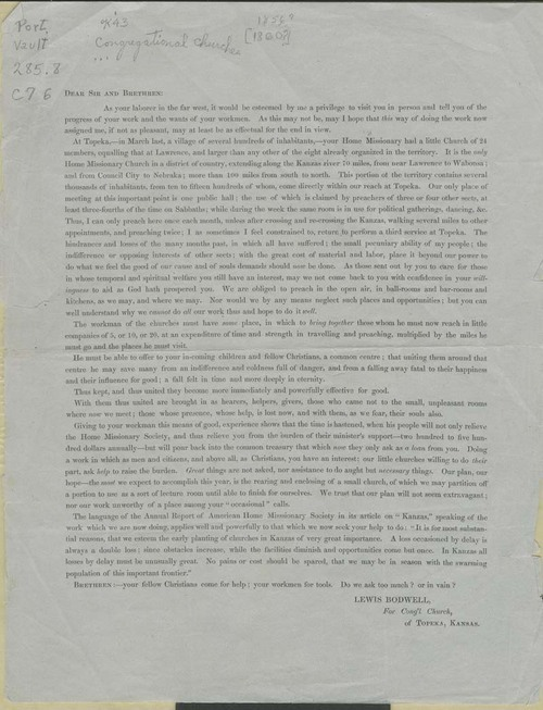 Lewis Bodwell, circular to the Home Missionary Church - Page