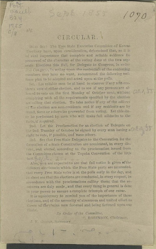 Charles Robinson circular for the Free State Executive Committee - Page