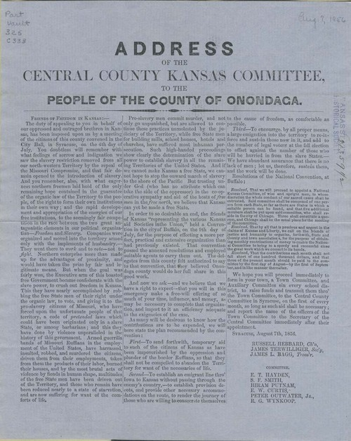 Central County Kansas Committee to the People of the county of Onondaga, New York - Page