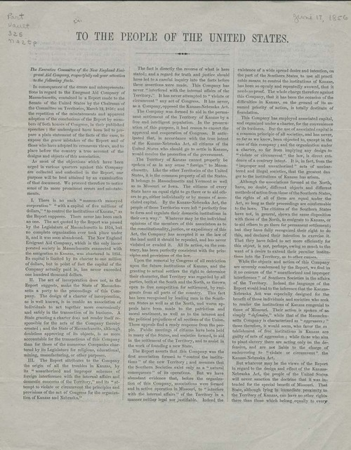 New England Emigrant Aid Company To the People of the United States - Page