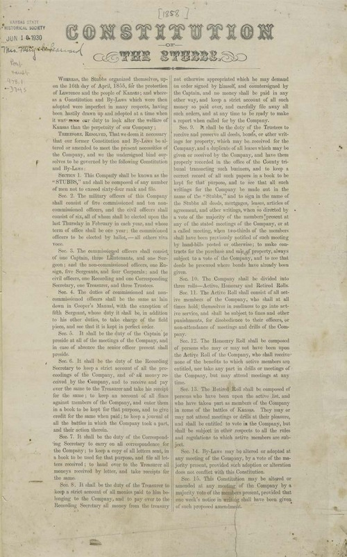Stubbs Militia Company Constitution, By-laws, and Charter - Page