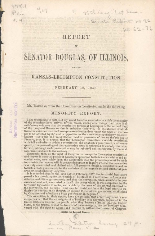 Stephen Arnold Douglas, minority report on the Kansas-Lecompton Constitution - Page