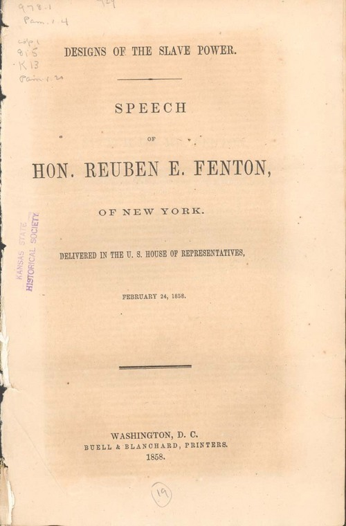 "Reuben Eaton Fenton, speech ""The Designs of the Slave Power"" - Page"
