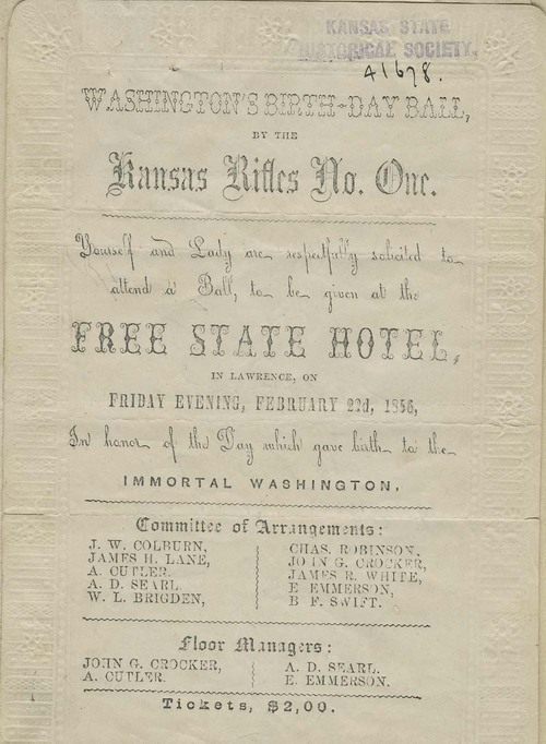 Washington Birthday Ball by the Kansas Rifles No. One. - Page