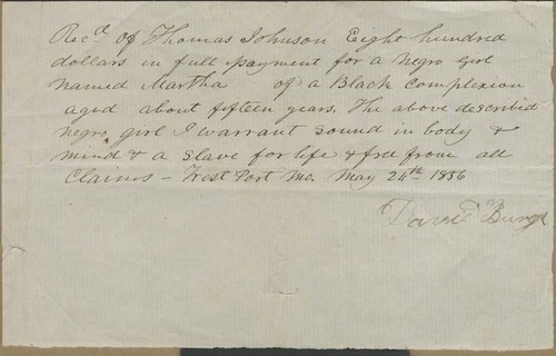 David Burge to Thomas Johnson, Slave Bill of Sale - Page
