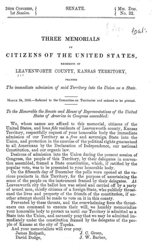 Leavenworth County, Kansas Territory, Citizens: Three Memorials...Praying for the immediate admission of Kansas Territory into the Union as a State - Page