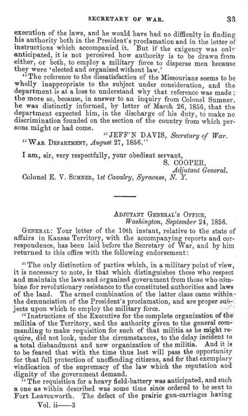 Jefferson Davis, Secretary of War; report - Page