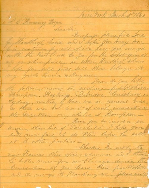 Theodore Hyatt to Samuel Clarke Pomeroy - Page