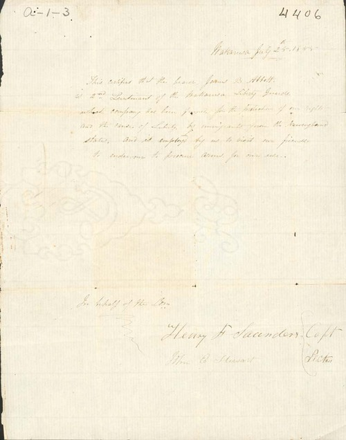 Henry Saunders, certifying James Abbott as a militia member - Page
