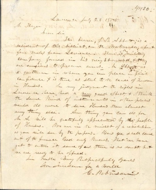 Charles Robinson to Eli Thayer - Page