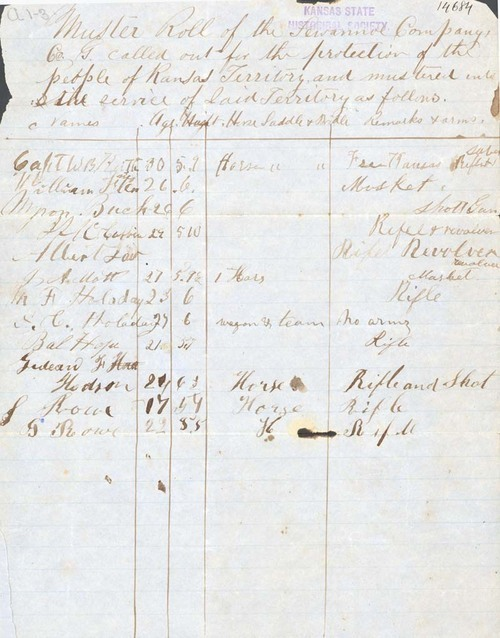 Muster Roll of the Sewannoe Company - Page