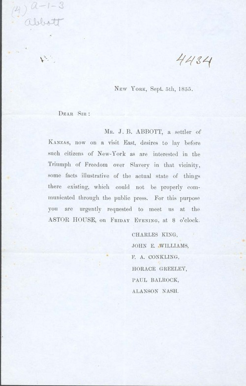 Invitation to James Abbott's 1855 New York presentation - Page