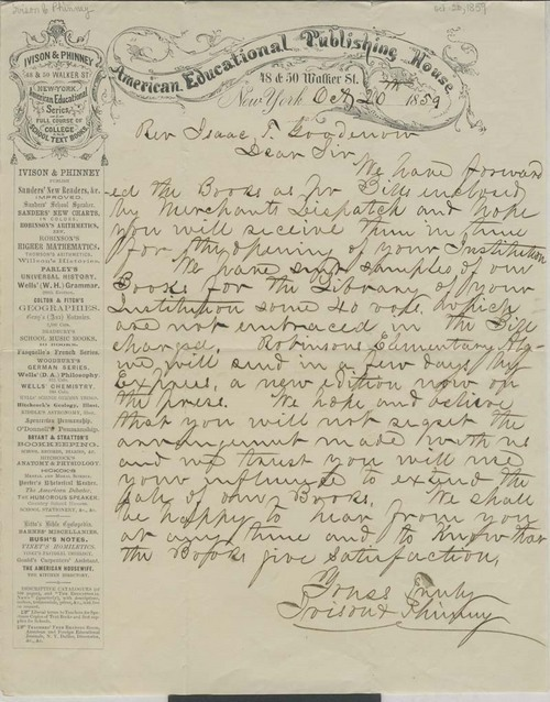 Ivison & Phinney, American Educational Publishing House, to Rev. Isaac T. Goodnow - Page