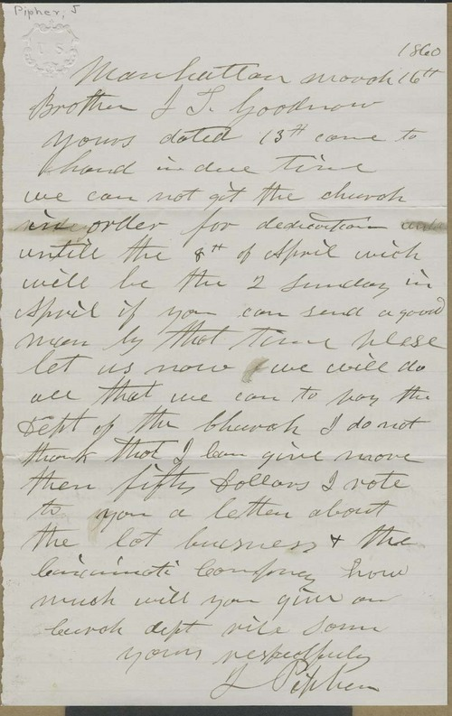 John Pipher to Isaac T. Goodnow - Page