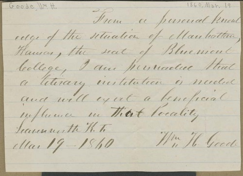 William H. Goode's endorsement of Bluemont College - Page