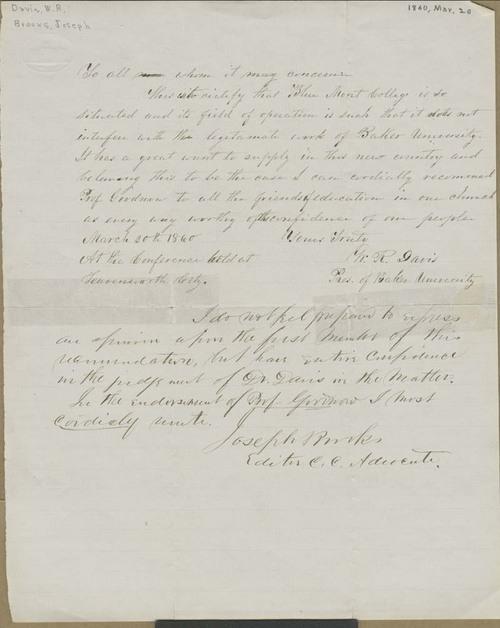 Rev. W. R. Davis' endorsement of Bluemont College - Page