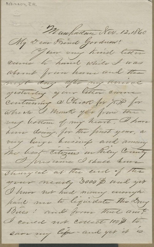 J. W. Robinson to Isaac Goodnow - Page
