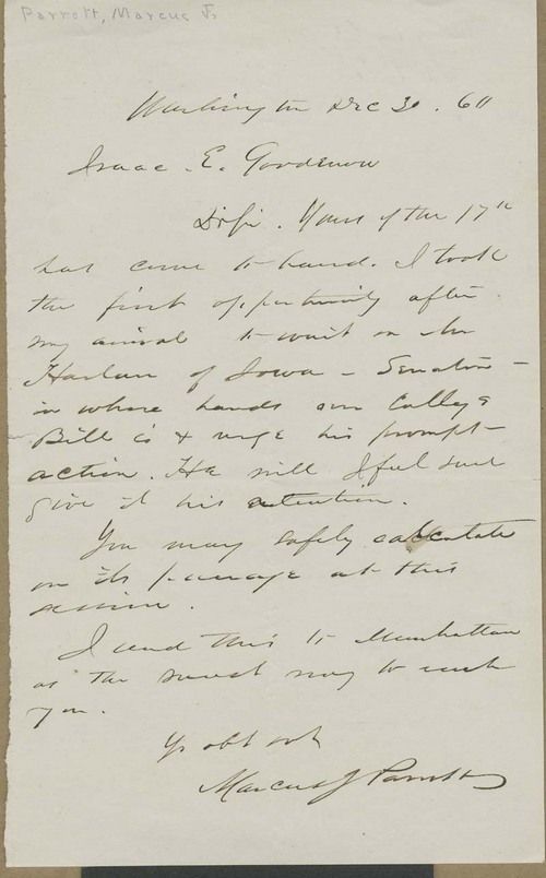 Marcus J. Parrott to Isaac Goodnow - Page