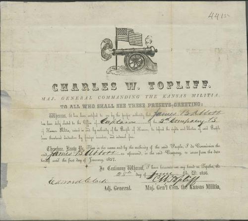 James Abbott's 1856 commission as Captain in Kansas Militia - Page